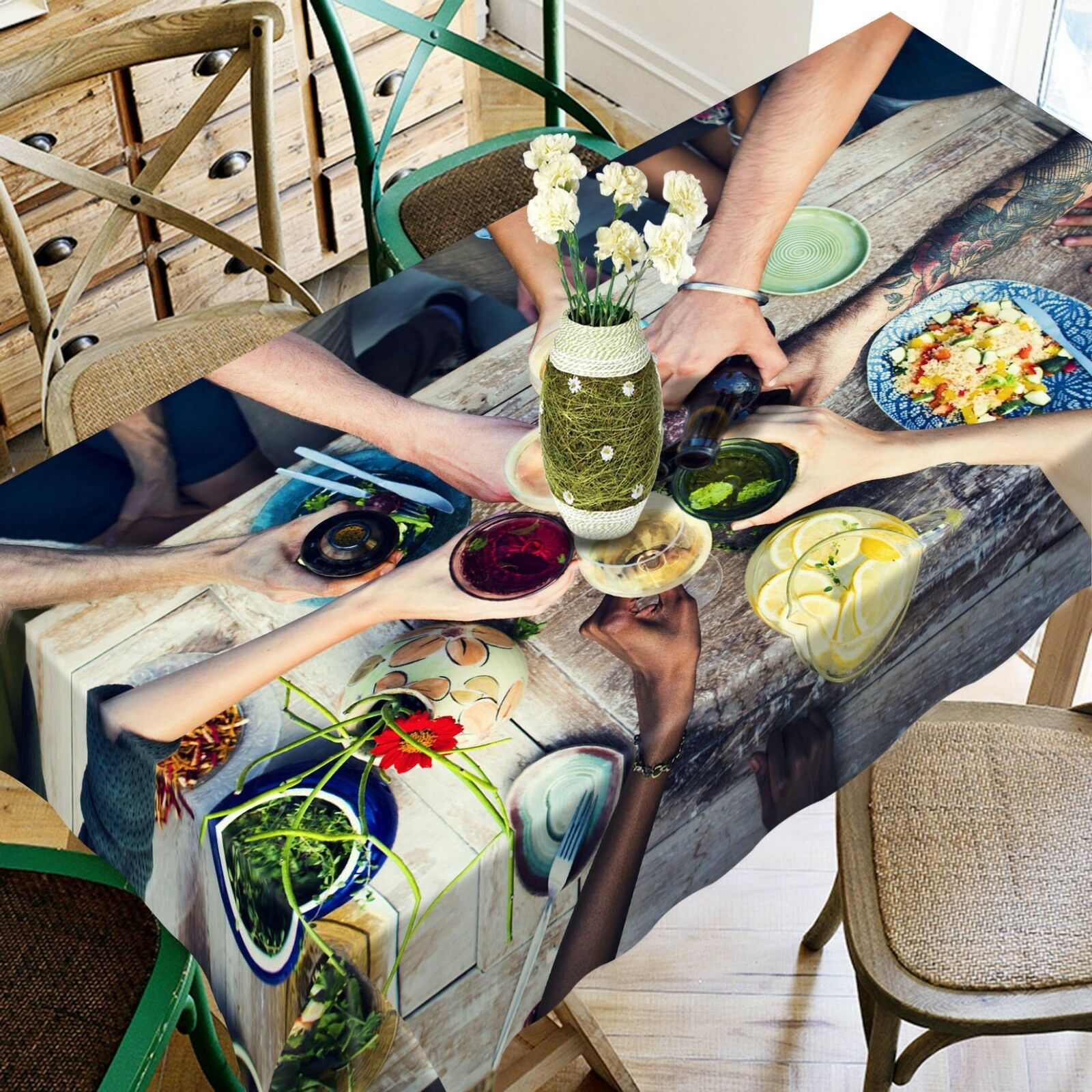 3D Lunch Food 055 Tablecloth Table Cover Cloth Birthday Party Event AJ Lemon