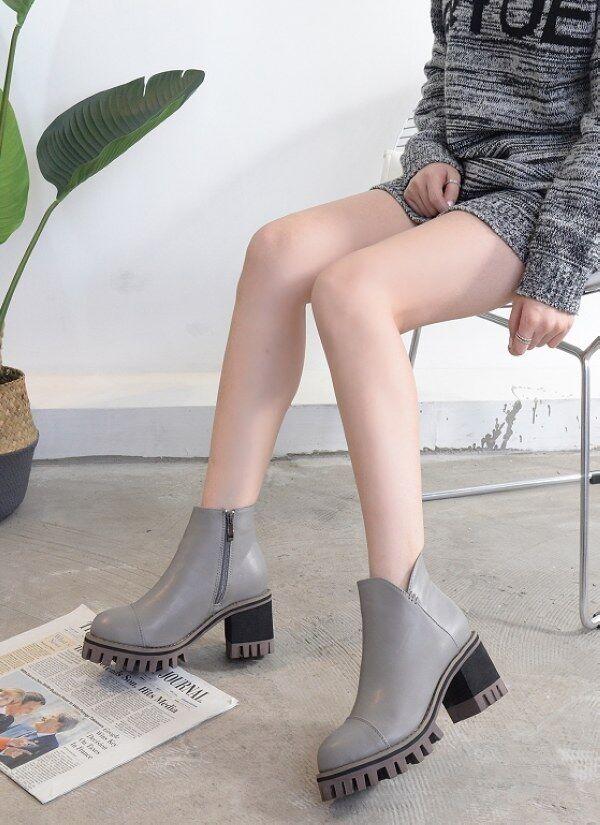 Bottes basses platform hauts talons 7 cm gris comme cuir 9008