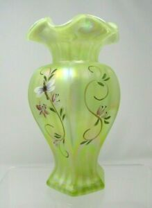 Fenton-Vaseline-Vase-Lily-Trail-1648T-Opal-Iridized-Rib-Optic-Dragonflies-9-034
