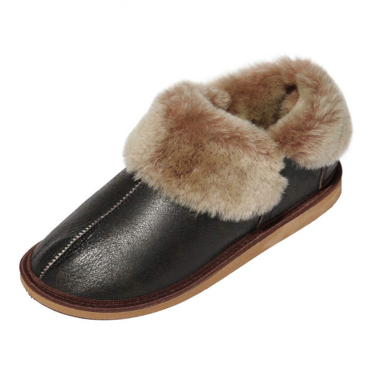 Pantofole in pelle di Agnello -   Giungla   shoes Pelliccia Cuoio brown