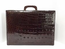SHINY ALLIGATOR BRIEFCASE WITH COMBINATION LOCK - NEW OLD STOCK