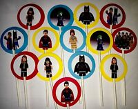30 Lego Batman Vs Superman Cupcake Toppers Birthday Party Decoration, 30