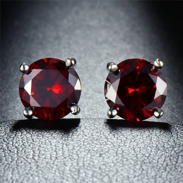 Round 7mm Created Red Ruby 18K White Gold Plated Stud Earrings with Gift Box