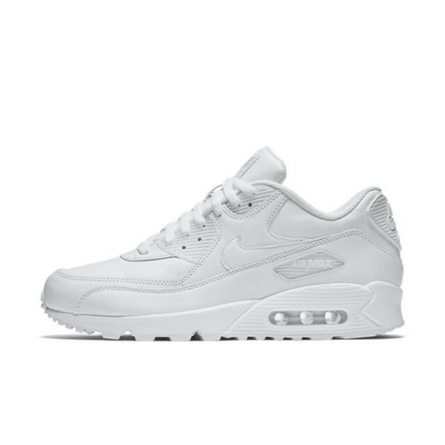 finest selection 0999c 93ab5 NIKE AIR MAX 90 LEATHER ALL WHITE NEW MEN ROSHE HUARACHE PRESTO RETRO  302519-113