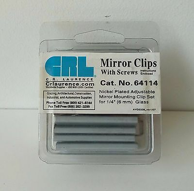 "CRL Nickel Plated Adjustable Mirror Clip Set for 1//4/"" Beveled Mirror"