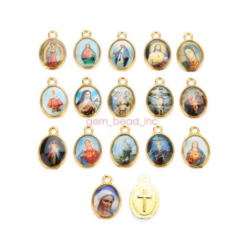 100Pcs Catholic Holy Religious Crosses Enamel Medals Charms  Pendants 15mm