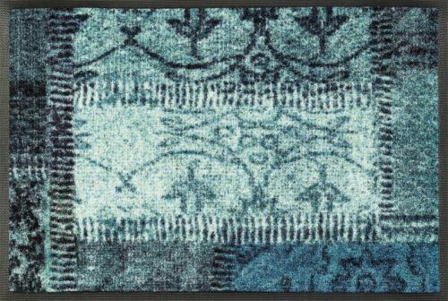 wash+dry Schmutzmatte Vintage Patches türkis waschbar Schmutzmatte Fußabstreifer