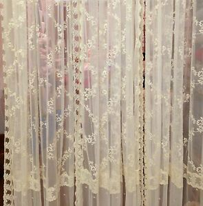 Image Is Loading French Country Shabby Chic Curtains Ivory Lace 145cm