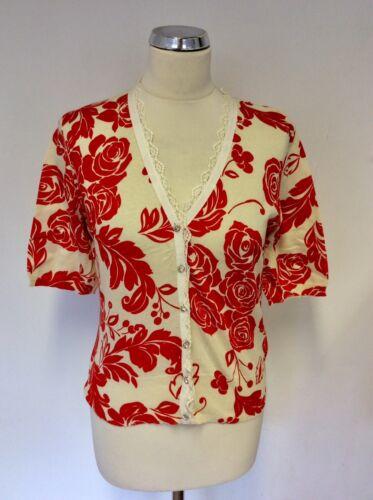 Eight Cardigan Short 14 Red Cream Cotton Neck Size Phase Rose amp; Sleeve V Print BqHnOd