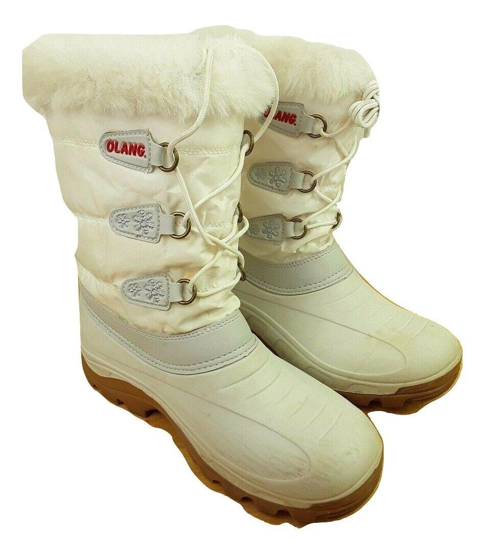 damen Olang Winter Weiß Snow Stiefel - Größe 38-38 UK 4-5 Lace Up