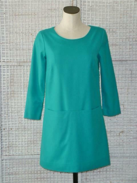Rare J CREW Summer Turquoise Wool Silk Shift Sheath Dress w Unique Pocket Seam2