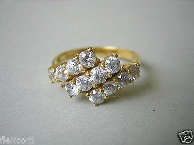 """americ"" Ring Mit 12 X Zirkonia Vergoldet Double Rg 54/2,6 G Phantasie Farben"