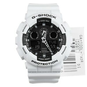 Casio-G-Shock-Mens-Wrist-Watch-GA100L-7A-GA-100L-7A-Analog-Digital-White-Black
