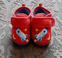 NEXT Young Boys Red Rocket Space Slippers Velcro Non Slip UK Size 5 Eur 21.5
