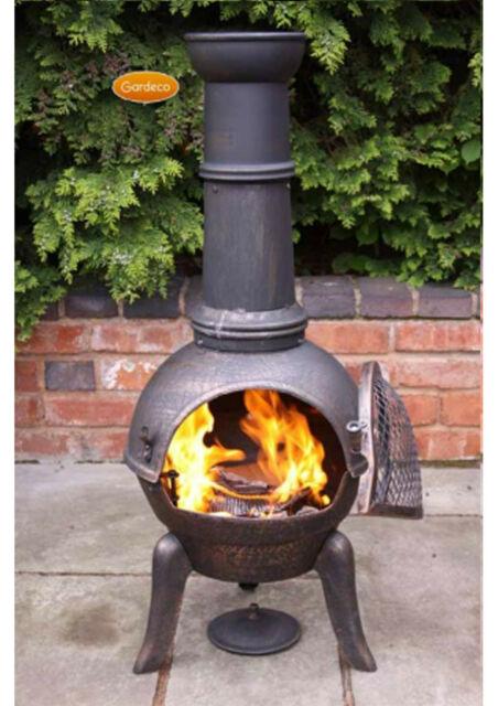 Granada large chimenea 112cm high garden patio heater fire woodburner cast iron