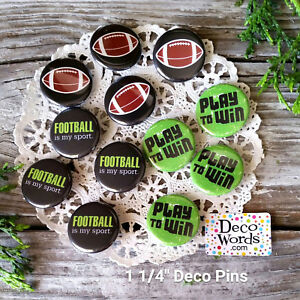 """12 Football Pins * 1 1/4"""" PINBACK Buttons - Party Favor for your Team! USA NEW"""