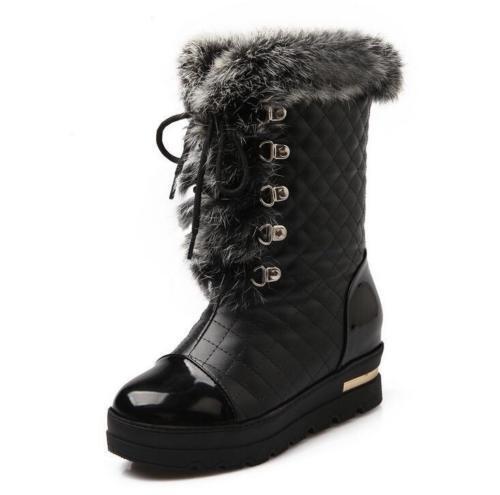 Women winter warm fur Snow Wedge heel Sweet platform mid calf boot lace up shoe