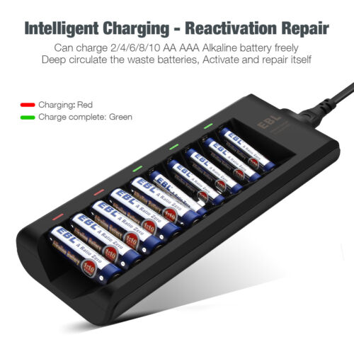 EBL 10-Bay Alkaline Battery Charger for Disposable AA AAA Alkaline Battery US