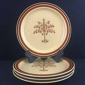Set-of-4-VTG-Dinner-Plates-by-Newcor-Romantic-Stoneware-152-Fruit-Trees-Japan