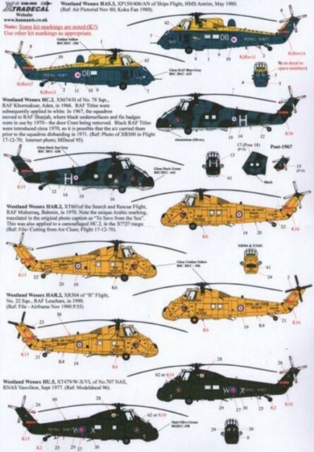 NEW Xtradecal X48111 1:48 Westland Wessex HC.2 - 9 Markings Options