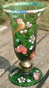 -petit Vase De Forme Médicis Art Deco Verre Emaillé Quell Summer Soif