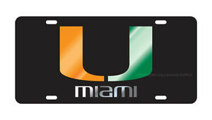 University Of Miami Hurricanes Black Mirrored Quot U Quot W Miami