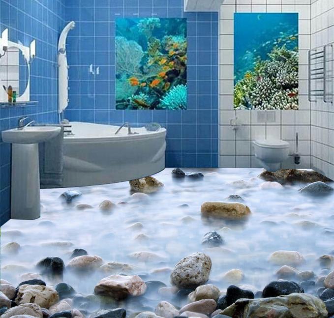 3D Fog Stones Ocean 32 Floor Wall Paper Wall Print Decal Wall Deco AJ WALLPAPER