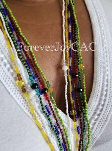 Elegua-Eleke-Collar-Santeria-Lucumi-Red-amp-Black-Crystal-Mini-Bead-Necklace-22-034