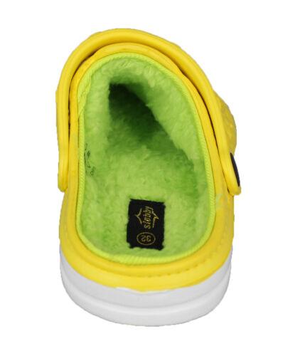 Kinder Warmfutter Clogs Hausschuhe Gartenclogs Jungen Mädchen Winter Schuhe NEU
