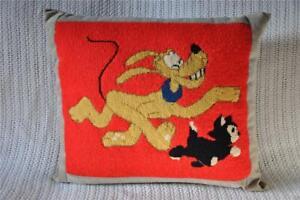 Vtg-14-034-Disney-Pluto-amp-Figaro-Kitten-Needlepoint-Pillow-Pinocchio-Cat-Dog-Insert