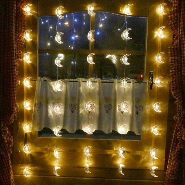 Led Weihnachtsbeleuchtung Für Fenster.Lichtervorhang 40x Mond Led Lichterkette Für Fenster Weihnachten