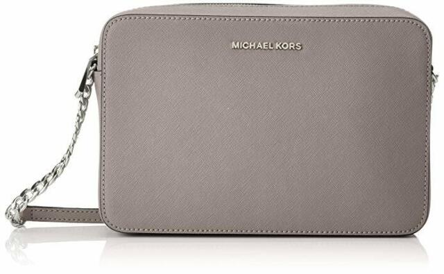 85b5b2c9fd72 Michael Kors Jet Set Travel Medium EW Crossbody Leather Pearl Grey  32T6STVC6L