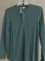 Mens Hanes Classics Comfort Blend Waffle Weave L/s Henley S Forest $27.msrp