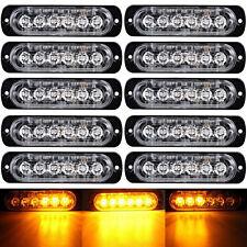 10x Surfacemount Amber 18W 6 LED Warning Emergency Flasher Strobe Light 12/24v