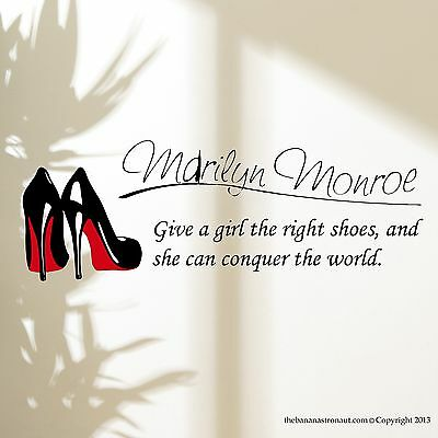 Marilyn Monroe Wall Decal Stickers Decor Quote Shoe Easy Removable Sticker