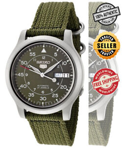 Seiko-5-Automatic-SNK805K2-Mens-Green-Dial-Day-Date-Nylon-Strap-Watch