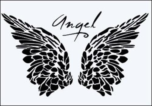 A5 A4 A3 *NEW* Angel Wings Word 190 micron Mylar Stencil durable /& sturdy