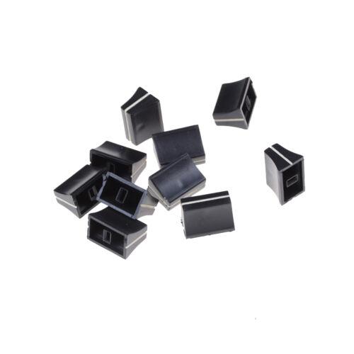 10 x Black Slide Potentiometer Mixer Fader Knob 19mmLx12mmW for 4mm Shaft PLYCYJ
