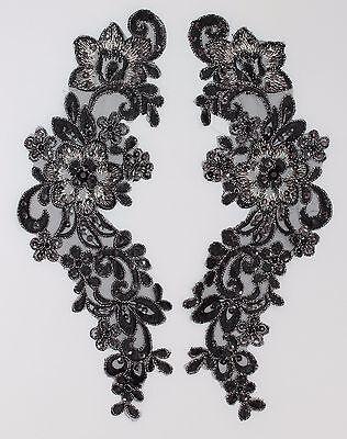 Extra Large Handmade Venise Lace Sequins Applique Trim Motif  M Black  #12