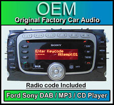 Ford Focus CD MP3 player with DAB radio, Ford Sony DAB car stereo with Code