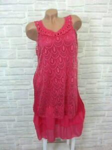 Sommerkleid-Haengerchen-Tunika-Kleid-SPITZE-HAKEL-Lagenlook-38-40-42-Pink-K337