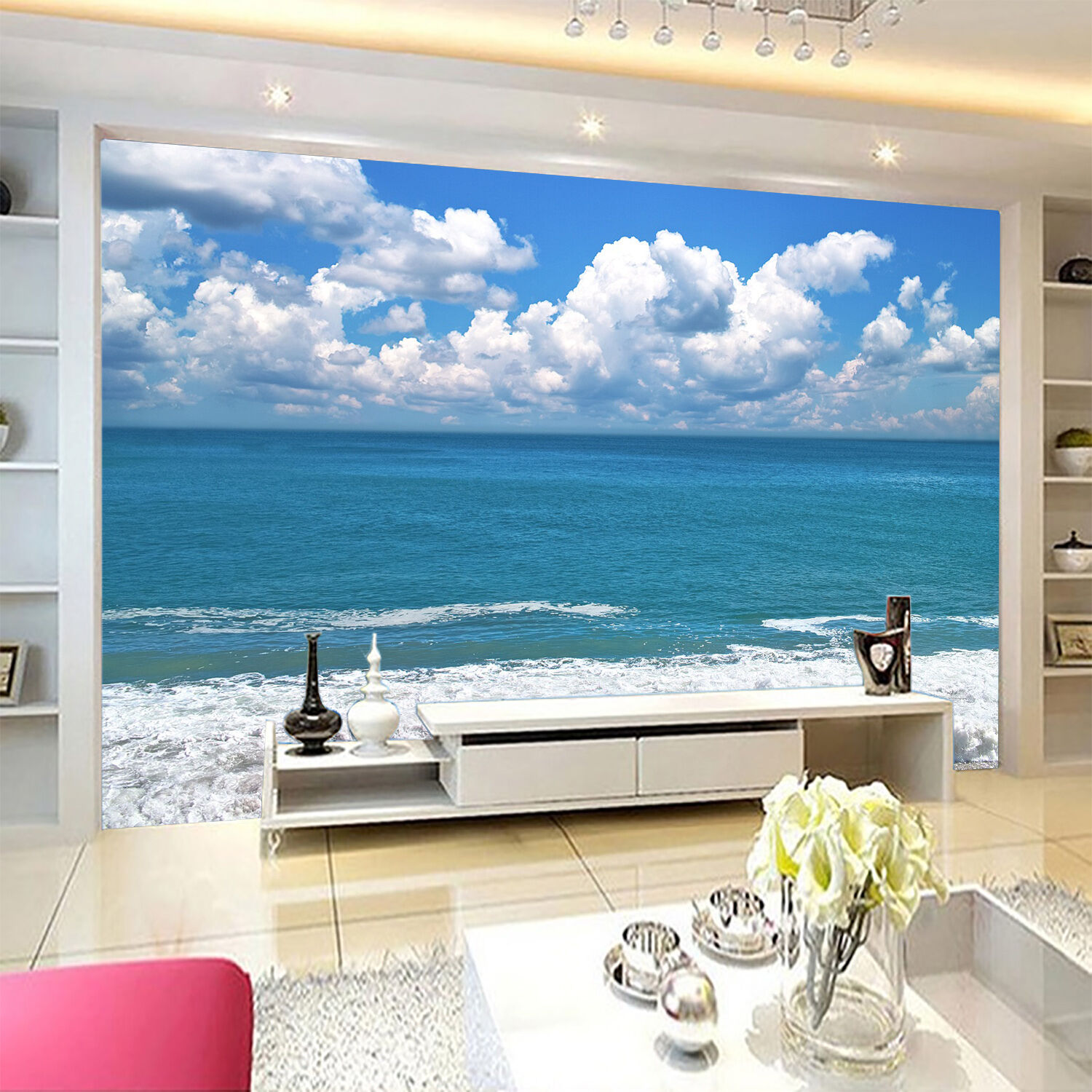 3D White Clouds Waves 944 Wallpaper Mural Paper Wall Print Wallpaper Murals UK