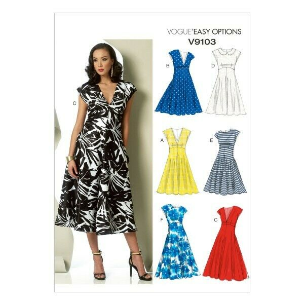 Vogue Sewing Pattern V9104 Women/'s Loose Fitted Pullover Dress With Neck Band
