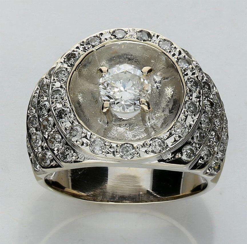 Diamond step ring 18K white gold 51 round brilliant .70CT center 2.15CTW 10.6GM