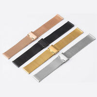 12mm-24mm Mens Ladies Stainless Steel Watch Mesh Bracelet Strap Replacement Band