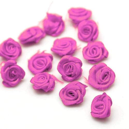 25x Mini pequeñas flores de cinta de Raso Rosa Decoración para Boda Apliques De Costura Hazlo tú mismo