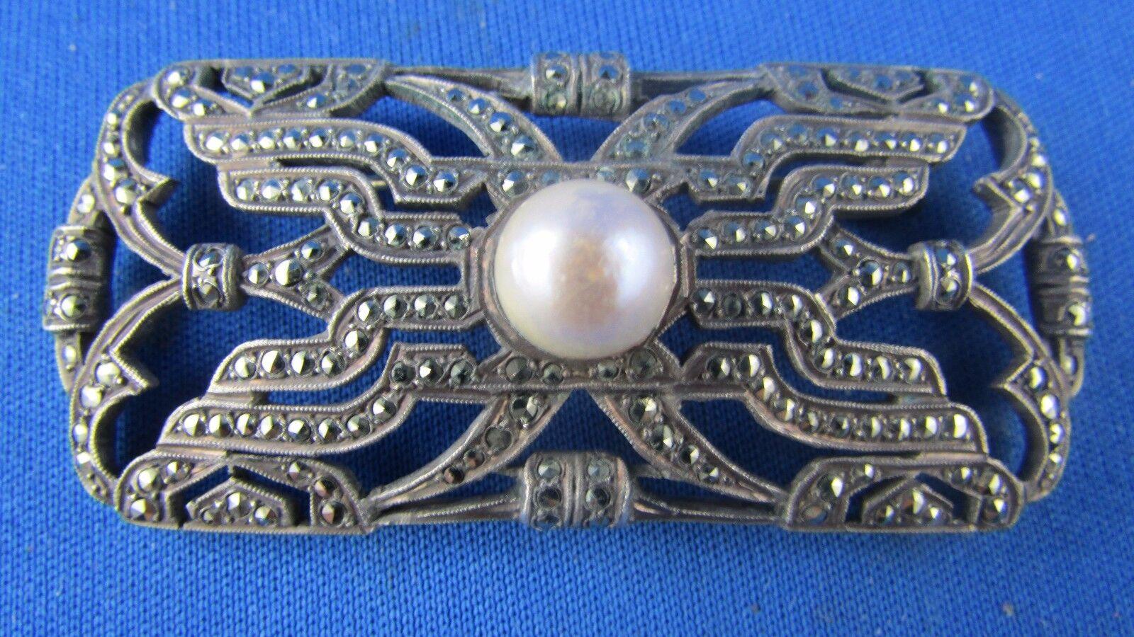 Broche de silver maciza troquel jabalí estrás perla época 1920 art deco