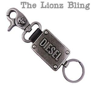Industrial Biker Genuine Black Leather /& Antiqued Metal Belt Clip Key Chain
