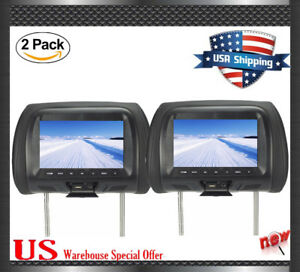 Black-2x-HDMI-Car-Video-Headrest-Pillow-Monitor-7-034-Active-NO-DVD-MP5-Player-New