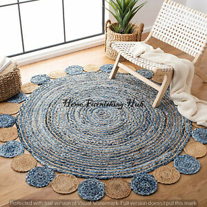 Indian Natural Braided Round Floor Jute